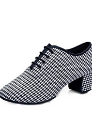 cheap -Women's Dance Shoes Knit Jazz Shoes Heel Thick Heel Customizable Black-white / Performance / Practice