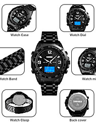 cheap -SKMEI Men's Dress Watch Digital Formal Style Stainless Steel Black / Silver 30 m Military Alarm Calendar / date / day Analog - Digital Outdoor Fashion - Black Silver One Year Battery Life