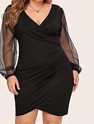 cheap -Women's Basic Street chic Bodycon Dress - Solid Colored Black, Mesh Black XL XXL XXXL XXXXL