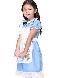 cheap -Princess Maid Costume Dress Maid Suits Flower Girl Dress Kid's Girls' A-Line Slip Cosplay Halloween Halloween Festival Christmas Halloween Children's Day Festival / Holiday Cotton Polyster Blue