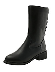 cheap -Women's Boots Chunky Heel Pointed Toe Bowknot Faux Leather / PU Mid-Calf Boots Casual / British Fall & Winter Black