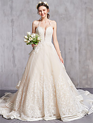 cheap -A-Line Sweetheart Neckline Cathedral Train Organza Spaghetti Strap Sexy Wedding Dresses with Ruched / Beading / Embroidery 2020