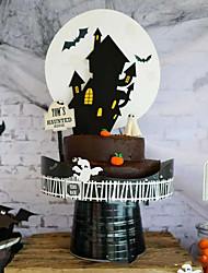 Недорогие -Хэллоуин бумажный замок торт вставить праздничные украшения партии украшения торта Хэллоуин поставки