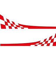 cheap -Racing Flag Vinyl Decal Car Styling Door Side Skirt Stripes Auto Body Decor Sticker-Red
