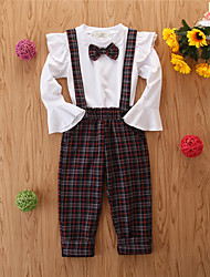 cheap -Baby Girls' Basic Print Long Sleeve Regular Regular Clothing Set White