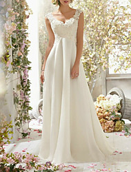 cheap -A-Line Wedding Dresses Sweetheart Neckline Sweep / Brush Train Chiffon Lace Spaghetti Strap Romantic Backless with Beading Lace Insert 2020