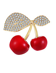 cheap -Women's AAA Cubic Zirconia Brooches Cherry Stylish Simple Vintage Sweet Fashion Pearl Brooch Jewelry Golden Silver For Party Gift Street Holiday Festival