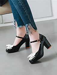 cheap -Women's Heels Chunky Heel Round Toe Bowknot Patent Leather Sweet / Preppy Summer Black / White / Red / Wedding / Party & Evening / Color Block