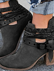 cheap -Women's Boots Chunky Heel Round Toe Buckle Canvas Booties / Ankle Boots Winter Black / Red / Gray
