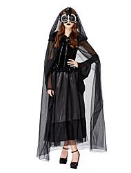 abordables -Mariée fantomatique Costume de Cosplay Bal Masqué Adulte Femme Cosplay Halloween Halloween Fête / Célébration Tulle Satin Noir Femme Déguisement Carnaval