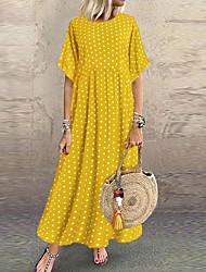 cheap -Women's Plus Size Maxi Swing Dress - Short Sleeve Polka Dot Color Block Wine Blue Yellow Green L XL XXL XXXL XXXXL XXXXXL