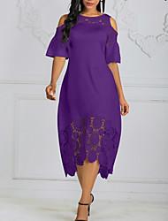 cheap -Women's Plus Size Asymmetrical A Line Dress - Solid Colored Lace Black White Purple L XL XXL XXXL