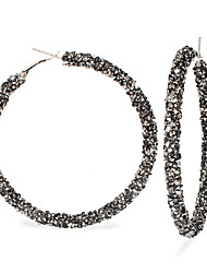 cheap -Women's Gold Black Hoop Earrings Earrings Geometrical Donuts Korean Sweet Fashion Cute Colorful Imitation Diamond Earrings Jewelry Black / Gold / Rainbow / Gray For Daily Street Holiday Work Festival