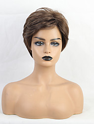 cheap -Human Hair Wig Short Straight Natural Wave Bob Pixie Cut Layered Haircut Asymmetrical Brown Life Lace Comfortable Lace Front Women's All Brown 8 inch / Natural Hairline / African American Wig