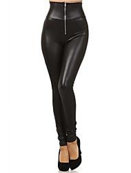 cheap -Women's PU Legging - Solid Colored, Zipper High Waist Black S M L / Slim