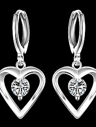 cheap -Women's Cubic Zirconia Drop Earrings Classic Heart Stylish Silver Plated Earrings Jewelry Silver For Party Daily 1 Pair