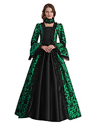 cheap -Queen Elizabeth Goddess Vintage Rococo Victorian Vacation Dress Dress Masquerade Women's Costume Blue / Black / Red / black / Green and Black Vintage Cosplay Stage Long Sleeve Maxi A-Line