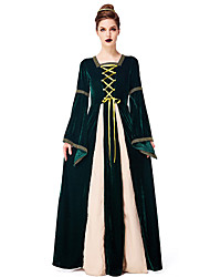 cheap -Princess Vintage Medieval Masquerade Costume Women's Costume Headbands Dark Green Vintage Cosplay Halloween Long Length / Dress / Hair Band / Dress / Hair Band