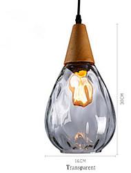 cheap -1-Light Solid Wood Glass Pendant Light Modern Style Restaurant Pendant Light