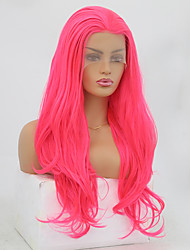 cheap -Synthetic Lace Front Wig Wavy Natural Wave Free Part Lace Front Wig Pink Long Pink Synthetic Hair 8-12 inch Women's Soft Elastic Women Pink / Glueless