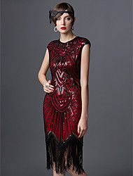 cheap -The Great Gatsby Charleston Vintage 1920s The Great Gatsby Roaring Twenties Flapper Dress Women's Sequins Costume Golden / Black+Golden / Black+Sliver Vintage Cosplay Party Homecoming Prom Sleeveless