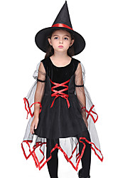 cheap -Witch Cosplay Costume Kid's Girls' Halloween Halloween Festival / Holiday Spandex Polyester / Polyamide Black Carnival Costumes