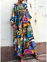 cheap -Women's Maxi Red Blue Dress Geometric S M Loose