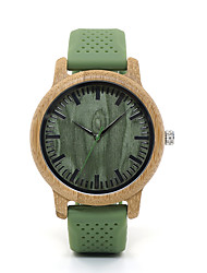 cheap -Couple's Dress Watch Japanese Japanese Quartz Stylish Silicone Green No Casual Watch Wooden Analog Wood - Fruit Green Two Years Battery Life