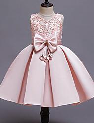 cheap -Kids Girls' Cute Street chic Patchwork Beaded Bow Patchwork Sleeveless Dress Wine