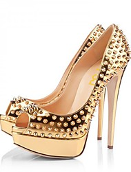 cheap -Women's Heels Stiletto Heel Peep Toe Rivet PU Spring &  Fall Gold