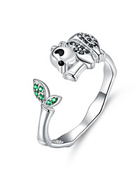 cheap -Panda and Bamboo Finger Ring 925 Sterling Silver Leaf and Animal Adjustable Rings for Women AAA CZ Design