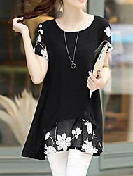 cheap -Women's Daily Work Street chic Blouse - Floral Ruffle / Print Black