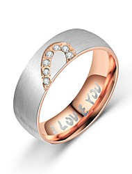 cheap -Men's Women's Couple Rings Band Ring Ring 1pc Black Rose Gold Titanium Steel Circular Vintage Basic Fashion Gift Daily Jewelry Sweet Heart Heart Heart / Tail Ring