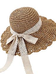 Недорогие -Жен. Активный Классический Симпатичные Стиль Соломенная шляпа Шляпа от солнца Хлопок,Контрастных цветов Лето Осень Розовый Бежевый Хаки