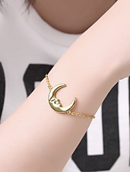 cheap -Women's Chain Bracelet Pendant Bracelet 3D Moon Precious Unique Design Fashion Brass Bracelet Jewelry Gold For Daily Work / Gold Plated