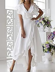 Недорогие -Жен. Большие размеры Секси А-силуэт Платье - Однотонный, Оборки обернуть V-образный вырез Средней длины