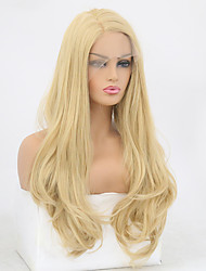 cheap -Synthetic Lace Front Wig Wavy Natural Wave Free Part Lace Front Wig Blonde Long Blonde Synthetic Hair 8-12 inch Women's Soft Elastic Women Blonde / Glueless