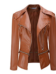 cheap -Women's Daily Regular Jacket, Solid Colored Shirt Collar Long Sleeve Faux Leather Black / Light gray / Army Green / Slim