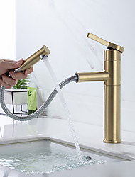 cheap -Bathroom Sink Faucet - Pullout Spray Brushed Gold Centerset Single Handle One HoleBath Taps
