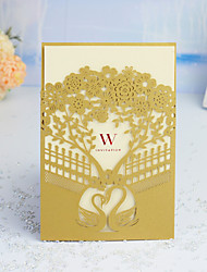 "cheap -Wrap & Pocket Wedding Invitations 30pcs - Invitation Cards / Thank You Cards / Response Cards Artistic Style / Fairytale Theme / Floral Style Pearl Paper 5""×7 ¼"" (12.7*18.4cm)"