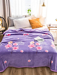 cheap -Bed Blankets, Floral / Simple Polyester Soft Comfy Blankets