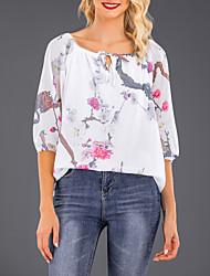 abordables -Tee-shirt Grandes Tailles Femme, Fleur Imprimé Sortie Chic de Rue Epaules Dénudées Noir / Printemps