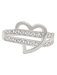 cheap -Women's Ring 1pc Silver Silver Circular Basic Korean Fashion Festival Jewelry Sweet Heart Heart