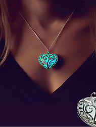 cheap -Women's Luminous Stone Pendant Necklace Charm Necklace Fancy Heart Romantic Sweet Colorful Silver Plated Red Blue 46 cm Necklace Jewelry 1pc For Wedding Gift Prom Club Promise