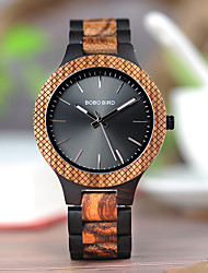 cheap -Men's Dress Watch Japanese Japanese Quartz Stylish Wood Black 30 m Wooden Analog Wood - Black / Orange