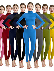 cheap -Zentai Suits Cosplay Costume Catsuit Adults' Spandex Lycra Cosplay Costumes Sex Men's Women's Black / Nude / fluorescent green Solid Colored Halloween Carnival Masquerade / Skin Suit / Skin Suit