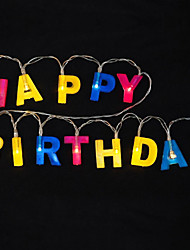 cheap -1.2m Happy Birthday Letters String Lights 13 LEDs Multi Color Holiday Decorative 5V 1set