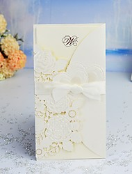 cheap -Double Gate-Fold Wedding Invitations 30pcs - Invitation Cards / Thank You Cards / Response Cards Artistic Style / Modern Style / Fairytale Theme Pearl Paper 21.5*11.5 cm Satin Bow / Sash / Ribbon
