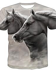 levne -Pánské Větší velikosti Barevné bloky 3D Kůň Tisk Tričko Základní Přehnaný Denní Jdeme ven Kulatý Světle šedá / Krátký rukáv / Zvíře
