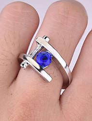 cheap -Women's Ring 1pc Blue Imitation Diamond Alloy Round Vintage Trendy Korean Daily Jewelry Lucky